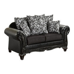 Chelsea Home - Upholstered Loveseat - Includes toss pillows. Traditional style. Fringe, contrasting striped pattern pillows. Sofa in bi-cast ebony cover. Pillow in Jericho cover. Seating comfort: Medium. Plush, rolled arms. Dacron wrapped foam reversible seat cushions. Zippered cushions. 8.5 gauge medium loop sinuous springs spaced 5 in. apart. 1.8 density foam with 0.75 of fiber wrapping. Ornately carved wood trim. Fabric contains: 100% polyester/73% cotton, 14% acrylic, 11% nylon/100% polyester. Made from mixed hardwoods and plywood. Made in USA. No assembly required. Seat: 46 in. L x 25.5 in. W x 22 in. H. Overall: 69 in. L x 34 in. W x 36 in. H (135 lbs.)The Chelsea Home Furniture Cecelia Collections brings sense of Victorian elegance to any living room area. This beautiful set, by Chelsea Home Furniture, epitomizes Chelseas legendary reputation for quality and comfort.