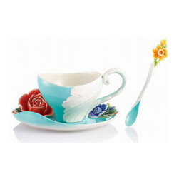 Franz Porcelain - FRANZ PORCELAIN COLLECTION Versailles Garden Rose Cup Saucer Spoon Set FZ02608 - Finished In Lead Free Glazes * Hand Painted By Franz Porcelain Artisans * FDA Approved Food/Plant Safe * New In The Original Box
