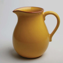 Tag Everyday - Jardin Terracotta Pitcher - Terra cotta. Crafted in portugal. Hand wash. Hand painted. Pigment stops at the rim, exposing terracotta clay colorColor: Yellow. 8 in. H x 8 in. L x 6 in. W (7 cup capacity)