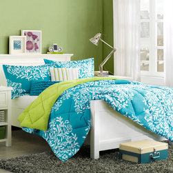 Intelligent Design - Intelligent Design Monaco Comforter Mini Set - The Monaco collection provides comfort and color. The softspun fabrication gives an incredibly soft hand feel while the bright teal color features a white leaf design. A solid bright green reverse gives another pop of color to spruce up your d̩cor. Two unique decorative pillows use fabric manipulation and ruffle details to add dimension to the top of bed. Comforter/Sham: 100% polyester softspun, printed face, solid softspun reverse, hidden zipper closure on sham, 270gsm down alternative fill and diamond quilting Square Pillow: 100% polyester softspun fabric cover, pleats with ribbon taping on face, brushed polyester piping all around, polyester filling Oblong Pillow: 100% brushed polyester cover with layered ruffle on face, polyester filling