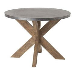 Halton Galvanized Metal Natural Wood Base Round Dining Table