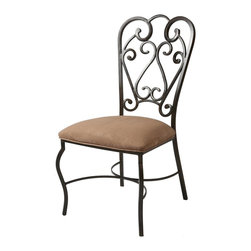 Pastel Furniture - Pastel Furniture Magnolia Side Chair X-136-RA-011-AM - The Magnolia Side Chair is a beautiful classic chair with intricate design details made with a murano accent. The chair is finished in Autumn Rust metal and elegantly upholstered in high quality Moccasin Suede. This chair with its uniqure classic design is a timeless masterpiece.