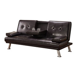 "Acme - Kayden Espresso Leather-Like Adjustable Sofa Futon Bed with Tufted Back - Kayden espresso leather like adjustable sofa futon bed with tufted back and fold down center with cup holders and armrests. This set features a leather like upholstery and a folding back to lay flat to convert to a sleep area. Measures when flat 72"" x 42"" x 16""H. Measures when upright 72"" x 34"" x 34""H. Some assembly required."