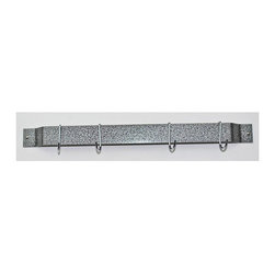 Rogar - 24 in. Bar Rack w 4 J Shape Hooks - Wall mounted pot rack. Made from steel. Rectangular shape. 24 in. L x 2 in. W (2.5 lbs.). Includes mounting hardware and J shape chrome color hooks. No assembly required. Powder coated and plated hammered steel. Hang maximum two or three down a wall for maximum professional style storage. Used in laundry, garage and kids room