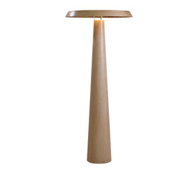 Hive - Float Floor Lamp - Float Floor Lamp is available in an American Ash Wood Veneer finish. A curious act of levitation, Float features a disk seemingly hovering on top of a tubular base. The collection makes use of the latest LED technology in order to produce a bright illumination below the disc. One 8 watt, 120 volt LED lamp is included.  22 inch width x 53.25 inch height. UL Listed.