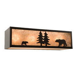 "Nature Vanity with Bear - 4 Light - Simple in design with a charming bear silhouette  the Nature 4 Light Vanity with Bear adds a note of natural elegance to your bathroom. Handcrafted from recycled steel with a black finish. Lens available in five color options: amber mica (recommended for ambient lighting)  white mica (shown)  khaki  slag glass pretended and bungalow green. Requires four 100-watt max bulbs. Measures 24""W x 6 1/2""H with an 8"" projection. Made in the USA. ~ Ships from the manufacturer. Allow 3 to 4 weeks."