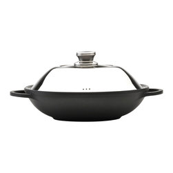 Berghoff - Berghoff Gemini Wok 12.5'' - Gemini covered wok has a 3-layer ferno ceramic coating that is non-stick, eco-friendly, and safe (PFOA and PTFE free).  The coating is a high temperature resistance coating that is suitable for all heat sources including induction.  Has a glass cover and detachable handles as well as Bakelite handles that stay cool which increases safety while cooking.