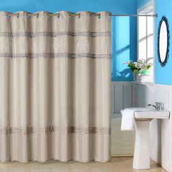 Other Brands - Lavish Home Radcliff Embroidered Grommet Style Shower Curtain Multicolor - 67-00 - Shop for Shower Curtains from Hayneedle.com! The Lavish Home Radcliff Embroidered Grommet Style Shower Curtain is the perfect way to add casual elegance to any decor. This shower curtain features grommet-style hanger holes and is made of 100% polyester. Its embroidered accents offer subtle style. Care is easy simply machine-wash in cold and tumble-dry on low. Bleach not recommended.About Trademark Global Inc.Located in Lorain Ohio Trademark Global offers a vast selection of items for your home and lifestyle. Whether you need automotive products collectibles electronics general merchandise home and garden items home decor housewares outdoor supplies sporting goods tools or toys Trademark Global has it at a price you can afford. Decor items and so much more are the hallmark of this company.
