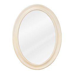"Hardware Resources - Elements Bathroom Mirror - Buttercream Clairemont Mirror by Bath Elements. 23-3/4"" x 31-1/2"" buttercream oval mirror with beveled glass. Corresponds with VAN061, VAN061-48, VAN061D-60"