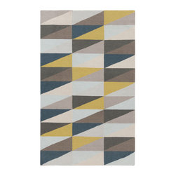 Inova Team - Modern Rug , 5' X 8' - Pops of color aren't just for throw pillows. Sneak a little something special into your flooring with this gorgeous handwoven wool rug. You'll adore how the cheerful marigold triangles stand out against their chic, neutral brethren.