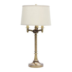 """House of Troy - 31.75"""" Antique Brass 6-Way Table Lamp (Shade Packed Separately) - Dimensions: 31.75""""D, 16""""W, 16""""D."""