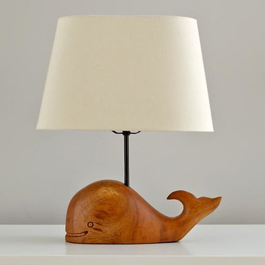 Thar She Glows Table Lamp - This carved wooden whale is a perfect little nightlight for late-night feedings.