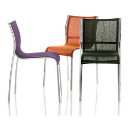 Magis Paso Doble Chair - Paso Doble Chair design by Stefano Giovannoni is a modern stacking chair with die-cast aluminum frame in black or white polyester powder paint or polished aluminum. Seat in polyester-vinyl polymer fabric, or in polyester-vinyl polymer and polyester-cotton fabric, or in leather.