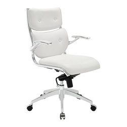 Modway - Push Midback Office Chair EEI-1062 White - The mid backed modern style of Push creates a focused synergy that turns all eyes on you. Every task that comes your way, will be handled with confidence, from the leatherette cushioned comfort of office luxury. Padded armrests, and the sleek sheen of the five dual-caster base, complete Push's stunning design.