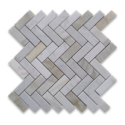 Stone Center Corp - Calacatta Gold Herringbone Mosaic Tile 1 x 3 Honed Calcutta Marble - Premium Grade 1x3 Herringbone Calacatta Gold Marble Mosaic tiles. Italian Calacatta Oro Calcutta Gold Honed 1 x 3 Big Herringbone Mosaic Wall & Floor Tiles are perfect for any interior/exterior projects. The Calcutta Gold Calacatta Marble 1x3 Herringbone Mosaic tiles can be used for a kitchen backsplash, bathroom flooring, shower surround, countertop, dining room, entryway, corridor, balcony, spa, pool, fountain, etc.  Please note that natural stone does vary in pattern and color, so each piece will be unique, which is part of what makes natural stone such a beautiful and interesting material. The picture is representative of one piece of marble and your 1x3 Herringbone Mosaic tiles with a product may look different.