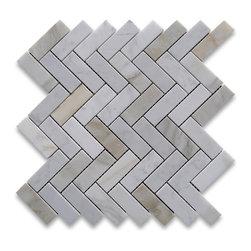 "Stone Center Corp - Calacatta Gold Herringbone Mosaic Tile 1 x 3 Honed Calcutta Marble - Calacatta Gold Marble 1x3"" pieces mounted on 12x12"" sturdy mesh tile sheet"