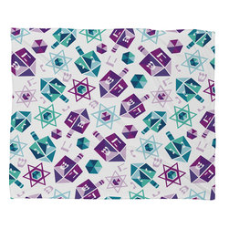 DENY Designs - DENY Designs Zoe Wodarz Dreidel Facets Fleece Throw Blanket - This DENY fleece throw blanket may be the softest blanket ever! And we're not being overly dramatic here. In addition to being incredibly snuggly with it's plush fleece material, you can also add a photo or select a piece of artwork from the DENY Art Gallery, making it completely custom and one-of-a-kind! And when you've used it so much that it's time for a wash, no big deal, as it's machine washable with no image fading. Plus, it comes in three different sizes: 80x60 (big enough for two), 60x50 (the fan favorite) and the 40x30. With all of these great features, we've found the perfect fleece blanket and an original gift!