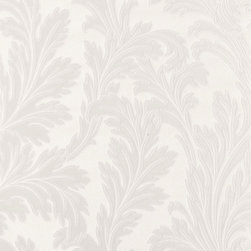 White Leafed Pattern Wallpaper - Give your walls a traditional look with a modern flare with wallpaper from the Regent Collection by Brewster.