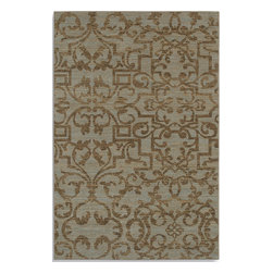 """Karastan - Karastan Sierra Mar 35505-33016 (French Quarter Bluestone) 9'6"""" x 13'2"""" Rug - Comfortable, weathered, easy to live with color, is the signature style of the Sierra Mar collection, with relaxed patterns that complement both traditional and modern design. Woven in the U.S.A., the pure New Zealand worsted wool yarns have been specially twisted and space-dyed to create artful color 'stria' reminiscent of fine hand woven 'Peshawar' rugs."""