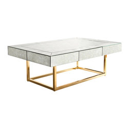 "Jonathan Adler - Jonathan Adler Delphine Coffee Table - The Jonathan Adler Delphine coffee table captivates with statement-making glamour. Atop a minimalist brass frame, its antique mirrored surface highlights clean lines and functional storage. 42""W x 28""D x 15""H; Single drawer; Mitered construction; Polished brass and antique mirror"