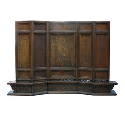 Golden Lotus - Chinese Floor Style Display Screen Panel Frame - This is a display screen that can be placed on the floor or on a table. The panel section has an option of inserting pictures or glass or leaving it with wood.