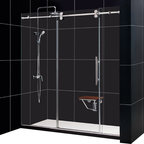 DreamLine - DreamLine SHDR-60727912-08 Enigma 68 to 72in Fully Frameless Sliding Shower Door - The Enigma is stunning with sophisticated frameless design that rivals custom glass for an exceptional value. Crafted from top of the line materials like striking stainless steel hardware and superior  thick tempered glass. The impressive glass is treated with DreamLines exclusive Clear Glass protective coating for superior protection and easy maintenance. The Enigma collection offers a world-class shower door that becomes the centerpiece of any bathroom design. 68 - 72 in. W x 79 in. H ,  Superior 1/2 (12 mm) thick clear tempered glass,  Brushed or polished stainless steel hardware finish,  Fully frameless glass design,  Width installation adjustability: 68 - 72,  Out-of-plumb installation adjustability: No,  Advanced fully frameless glass design,  Effortless sliding operation with large wheel assemblies on a stainless steel track,  DreamLine exclusive Clear Glass protective anti-limescale coating,  Material: Tempered Glass