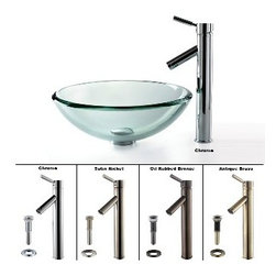 Kraus - Kraus Clear 19mm thick Glass Vessel Sink and Sheven Faucet Chrome - *Add a touch of elegance to your bathroom with a glass sink combo from Kraus