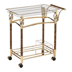 "ACMACM98002 - Mace Golden Brass Plated Glass Shelves Tea Serving Cart with Casters - Mace golden brass plated metal finish and burl wood design tempered glass shelves tea serving cart with casters. Measures 29"" x 16"" x 31""H. Some assembly required."