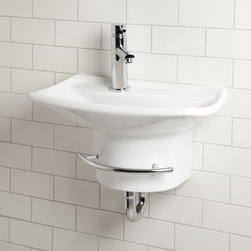 Gallery Wall-Mount Sink with Towel Bar - Contrasting its rectangular basin, the Gallery Sink has a wave-shaped faucet deck, for an artful addition to a small bath or powder room.
