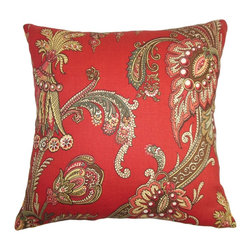 "The Pillow Collection - Leauna Floral Pillow Red 18"" x 18"" - Prettify your living space with this charming square pillow. This 18"" pillow features a floral pattern in shades of green, white, pink, brown, yellow and red. This decor pillow mixes well with other patterns like geometric, ikat, stripes and more. Place this throw pillow on top of your bed, sofa or seat to lend a visually interesting element. Made of 100% soft and high-quality cotton fabric. Hidden zipper closure for easy cover removal.  Knife edge finish on all four sides.  Reversible pillow with the same fabric on the back side.  Spot cleaning suggested."