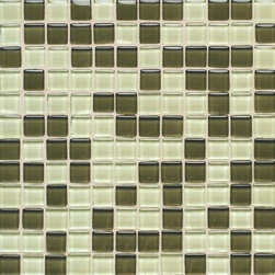 """Legacy Glass Green Blend - Nothing says style and sophistication quite like colored glass tiles. Available in a multitude of colors, Legacy Glass boasts a rare look that is equally at home in both contemporary and Old World settings. From 1"""" x 1"""" squares to 2"""" x 4"""" brick joints, this stunning tile features a truly unique array of sizes and colors. And while at first glance, it may seem as if this tile is suited ideally for today's contemporary designs, don't be quick to discount its use in perhaps more unexpected applications."""