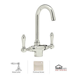 """Rohl - Rohl A1667LMPN-2 Polished Nickel Country Kitchen Country Kitchen Low - Country Kitchen Low Lead Kitchen Faucet with Metal Lever HandlesBorn in the Piedmonte region of France, an area known for its rich tradition of cuisine and culture, the Country Kitchen collection is defined by exquisite design. Straight lines are paired with gentle curves and ribbing details to create a classic look that is as popular today as it was years ago. And with function set as the cornerstone of all Rohl products, rest assured that the beauty of the Country Kitchen collection does not overshadow its use. Smooth handle operation, lifetime ceramic disc valves, and a sturdy feel that only all-brass construction could allow are all defining features of the Country Kitchen collection. As one of Rohl's largest collections, you will find that there are a variety of bold styles and finishes to choose from.Rohl A1667LM-2 Features:All brass faucet body construction - weight: 7 lbs.Hand-machined from solid brass stockIndustry leading, 1/4 turn lifetime ceramic disc valveSuperior finishing process – chemical, scratch, and stain resistantNumber of installation holes required: 1Spout swivels to allow for unobstructed sink access1.5 gallons-per-minute flow rateInstalls onto decks up to 2-11/64"""" thickMetal lever handles includedOverall height: 11-3/4"""" (measured from counter top to highest point of faucet)Spout height: 8-5/8"""" (measured from counter top to faucet outlet)Spout reach: 5"""" (measured from center of faucet base to center of faucet outlet)Low lead compliant – complies with federal and state regulations for lead contentDesigned for use with standard U.S. plumbing connectionsExtra secure mounting assemblyAll necessary mounting hardware includedFully covered under Rohl's limited lifetime warrantyManufactured in New Zealand, Western Europe, and/or North AmericaVariatio"""