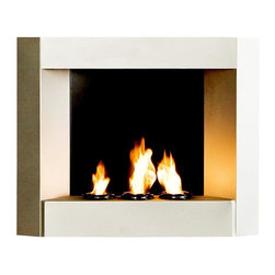 Southern Enterprises - Hallston Wall Mount Fireplace - Modernize your home's decor quickly while also providing atmosphere. Accomplish this would-be tricky feat by installing this cosmopolitan styled wall mount fireplace in silver. Note that an electrician isn't needed for the smokeless, odorless, and portable fireplace. Holds three cans of fireglo gel fuel. Hangs on wall just like a picture. Made from Metal. No assembly required. 29.5 in. W x 6 in. D x 24 in. H (30 lbs.)Enliven any space with this wall mount gel fuel fireplace. This piece is small enough to go anywhere and can be hung as easily as a picture. The modern crisp lines of this fireplace stand out against any wall making it a definite eye catcher. Finished with a light silver matte texture, the finish is designed to fit well with both contemporary and transitional styling. This wall mount fireplace will hold up to 3 cans of gel fuel providing a rich fiery glow perfect for relaxation. Each can lasts up to 3 hours on a single burn and puts off up to 3,000 BTU's. Gel fuel must be purchased separately. This wall mount fireplace also makes a convenient and unique space for burning and displaying candles simply by placing the included snuffer cover on top of the gel fuel can openings.
