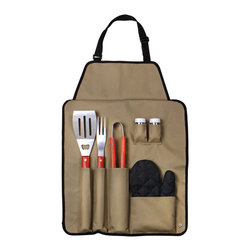 None - Outdoor 7-piece Barbecue Apron and Utensil Set - Featuring a wide variety of essential barbecue tools, this handsome set comes complete with its very own custom apron. This protective apron will keep you safe from grease splatters and give you easy access to whatever tool you need.