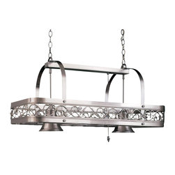 Hi-Lite MFG - Odysee 2-Lite Pot Rack in Satin Steel Finish - Includes six pot rack hooks. UL listed. Made from steel. 36 in. L x 17 in. W x 21 in. HHi-Lite achieved success through attention to detail and stubbornness to only manufacturer the highest quality product. Hi-Lite has built its reputation as a premier lighting manufacturer by using only the finest raw materials, inspirational designs, and unparalleled service. This allows us great flexibility with our designs as well as offering you the unique ability to have your custom designs brought to Light.