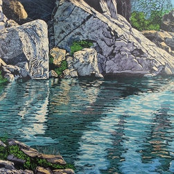 Fine Art For Any Space - Delicious cool water amidst nature's rocks and vegetation !