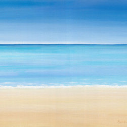 """""""""""Solitude"""""""" (Original) By Barbara Blair - Solitude Seems Like The Perfect Name For This Expansive Semi-Abstract Beach And Ocean Painting, Which Provides A Visual Escape To A Peaceful Meditative Place In Your Mind.  The Cool Colors Combined With A Minimal And Horizontal Design Contribute To The Calming Effect."""