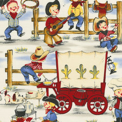 """Little Cowpokes Fabric - Looking for a fabric with a real """"wow"""" factor? Our Little Cowpokes fabric is a delight to the eye, featuring scenes of vintage child cowboys doing what cowboys do best."""