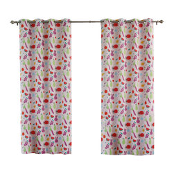 "Best Home Fashion - Tropical Paradise Room Darkening Grommet Top Curtain - 1 Pair, Pink, 84"" L - These bright and adorable curtains will make your child feel like they're in a tropical paradise."