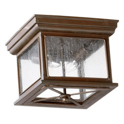Joshua Marshal - Two Light Oiled Bronze Clear Seeded Glass Outdoor Flush Mount - Two Light Oiled Bronze Clear Seeded Glass Outdoor Flush Mount