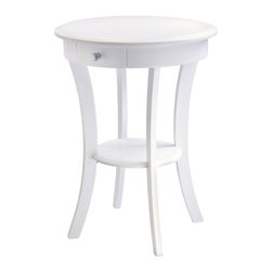 """Winsome Wood - Winsome Wood 10727 Sasha Round Accent Table in White - Elegantly simple End table. Its curved, smooth design blends well with any style of room decor. 20"""" Diameter solid wood top is large enough to hold  a lamp floral vase etc. There is  a drawer for storage and shelf for display. Drawer inside dimension 5.75""""W x 7.87""""D x 2.32""""H. Shelf Diameter 11.81"""", Clearance from Bottom of Drawer to shelf is 12.40"""". Combination of solid and composite wood in White finish. Assembly required"""