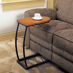 Coaster - Oak Transitional Accent Table - Snack table with distressed oak finished top and black metal base.