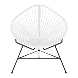 Acapulco Chair, White Weave On Black Frame - The Acapulco Chair - contemporary lounge or occasional chair suitable for indoors and out.  Composed of a tripod metal base and seat woven with vinyl cord. The Acapulco chair is similar in construction and form to our Innit chair though slightly more reclined with a pear shaped frame.  The galvanized steel is rust resistant and the very durable yet flexible, UV protected vinyl will stay colorfast for years.  This chair is incredibly comfortable without a cushion.  Its weatherproof, breathable, easy to clean, and available in everybodys favorite color. *Please refer to swatch image for accurate product color variations.