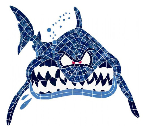 Glass Tile Oasis - Large Blue Shark Pool Accents Brown Pool Glossy Ceramic - We offer six lines of in-stock designs ready for immediate delivery including: The Aquatic Line, The Shadow Line, The Hang 10 Line, The Medallion Line, The Garden Line and The Peanuts Line. All of the mosaics are frost proof, maintenance free and guaranteed for life. Our Aquatic Line includes: mosaic dolphins, mosaic turtles, mosaic tropical and sport fish, mosaic crabs and lobsters, mosaic mermaids, and other mosaic sea creatures such as starfish, octopus, sandollars, sailfish, marlin and sharks. For added three dimensional realism, the Shadow Line must be seen to be believed. Our Garden Line features mosaic geckos, mosaic hibiscus, mosaic palm tree, mosaic sun, mosaic parrot and many more. Put Snoopy and the gang in your pool or bathroom with the Peanuts Line. Hang Ten line is a beach and surfing themed line featuring mosaic flip flops, mosaic bikini, mosaic board shorts, mosaic footprints and much more. Select the centerpiece of your new pool from the Medallion Line featuring classic design elements such as Greek key and wave elements in elegant medallion mosaic designs.