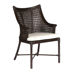 Frontgate - Kipling Dining Arm Chair with Cushion, Patio Furniture - Modern British colonial style forms. Rust-resistant, powder coated aluminum frame has a deep mahogany finish. Caned seat back is crafted with wrought aluminum. Cushions are covered in 100% solution-dyed acrylic upholstery. The Kipling Dining Arm Chair by Summer Classics&reg puts a modern twist on British colonial style with a rich balance of sophistication and comfort. High-quality resin wicker is hand woven in an intricate cane weave pattern providing authentic look and feel. Frame is crafted with wrought aluminum and finished to resemble fine mahogany. Plush cushions are available in a variety of Sunbrella&reg fabrics. Part of the Kipling by Summer Classics&reg Collection. . . . . Note: Due to the custom-made nature of the cushions, any fabric changes or cancellations made to the Kipling Collection by Summer Classics&reg must be made within 24 hours of ordering.