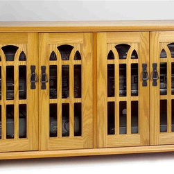 """Leslie Dame - Eclectic Flat Panel TV Console w Glass Doors - Color: OakPictured in Oak. Accommodates up to most 50"""" Flat Panel Plasma or LCD TVs. 47.25 in. W x 18.88 in. D x 28.25 in. H"""