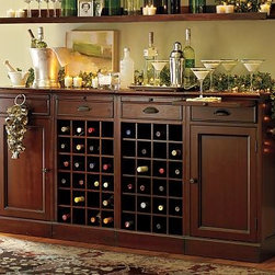 """Wine Bar Buffet with 2 Wine Bases & 2 Cabinets, Black - Our Modular Bar System is a stylish alternative to built-in cabinetry. 72"""" wide x 13.5"""" deep x 36"""" high Expertly crafted with a solid mahogany frame. Finished by hand using our exclusive layering technique for exceptional depth of color. Includes 2 cabinet bases and 2 wine-grid bases. Top hutch is available in 2 styles: a shelf with a wineglass rack or a 28-bottle wine grid. Each wine-grid base holds 24 bottles. Each cabinet base has an adjustable shelf. Wood swatches, below, are available for $25 each. We will provide a merchandise refund for swatches if they're returned within 30 days. Catalog / Internet only. View our {{link path='pages/popups/fb-dining.html' class='popup' width='480' height='300'}}Furniture Brochure{{/link}}."""