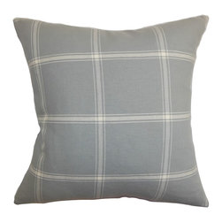 "The Pillow Collection - Naretha Plaid Pillow, Gray - Clean and minimalist, this accent pillow is the easiest way to style your home. This decor pillow looks great when placed on top of the sofa, bed or couch. The square pillow features a plaid pattern in white and set against a gray background. This 18"" pillow looks great when paired with solids and other patterns like stripes and geometric. This decor piece lends comfort and visual dimension with its 100% cotton-made fabric. Hidden zipper closure for easy cover removal.  Knife edge finish on all four sides.  Reversible pillow with the same fabric on the back side.  Spot cleaning suggested."