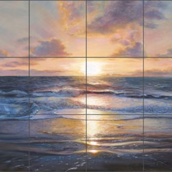 "Artwork On Tile - Kuczer Seascape Sunset Ceramic Tile Mural 32"" x 24"" - OKA007 - * 32"" w x 24"" h x .25"" Ceramic Tile Mural on Architectural Grade, 8"" Tile w/Satin Finish"