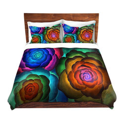 DiaNoche Designs - Duvet Cover Microfiber by Jennifer Baird - Joyous Flowers II - DiaNoche Designs works with artists from around the world to bring unique, artistic products to decorate all aspects of your home.  Super lightweight and extremely soft Premium Microfiber Duvet Cover (only) in sizes Twin, Queen, King.  Shams NOT included.  This duvet is designed to wash upon arrival for maximum softness.   Each duvet starts by looming the fabric and cutting to the size ordered.  The Image is printed and your Duvet Cover is meticulously sewn together with ties in each corner and a hidden zip closure.  All in the USA!!  Poly microfiber top and underside.  Dye Sublimation printing permanently adheres the ink to the material for long life and durability.  Machine Washable cold with light detergent and dry on low.  Product may vary slightly from image.  Shams not included.
